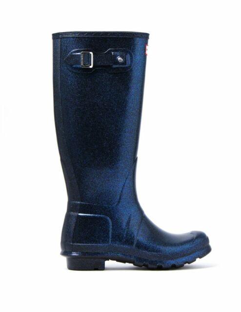 Hunter Women S Original Rain Boots Starcloud Tall Neptune Blue Black Sz 6 8 Nib