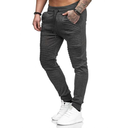 Mens Gym Slim Fit Trousers Tracksuit Bottoms Skinny Joggers Sweat Track Pants
