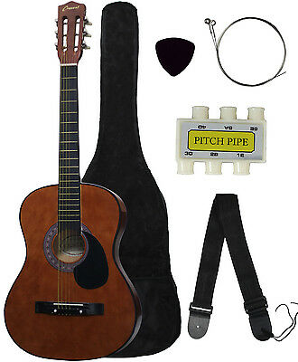 New COFFEE Beginners Acoustic Guitar With Guitar Case, Strap, Tuner and Pick