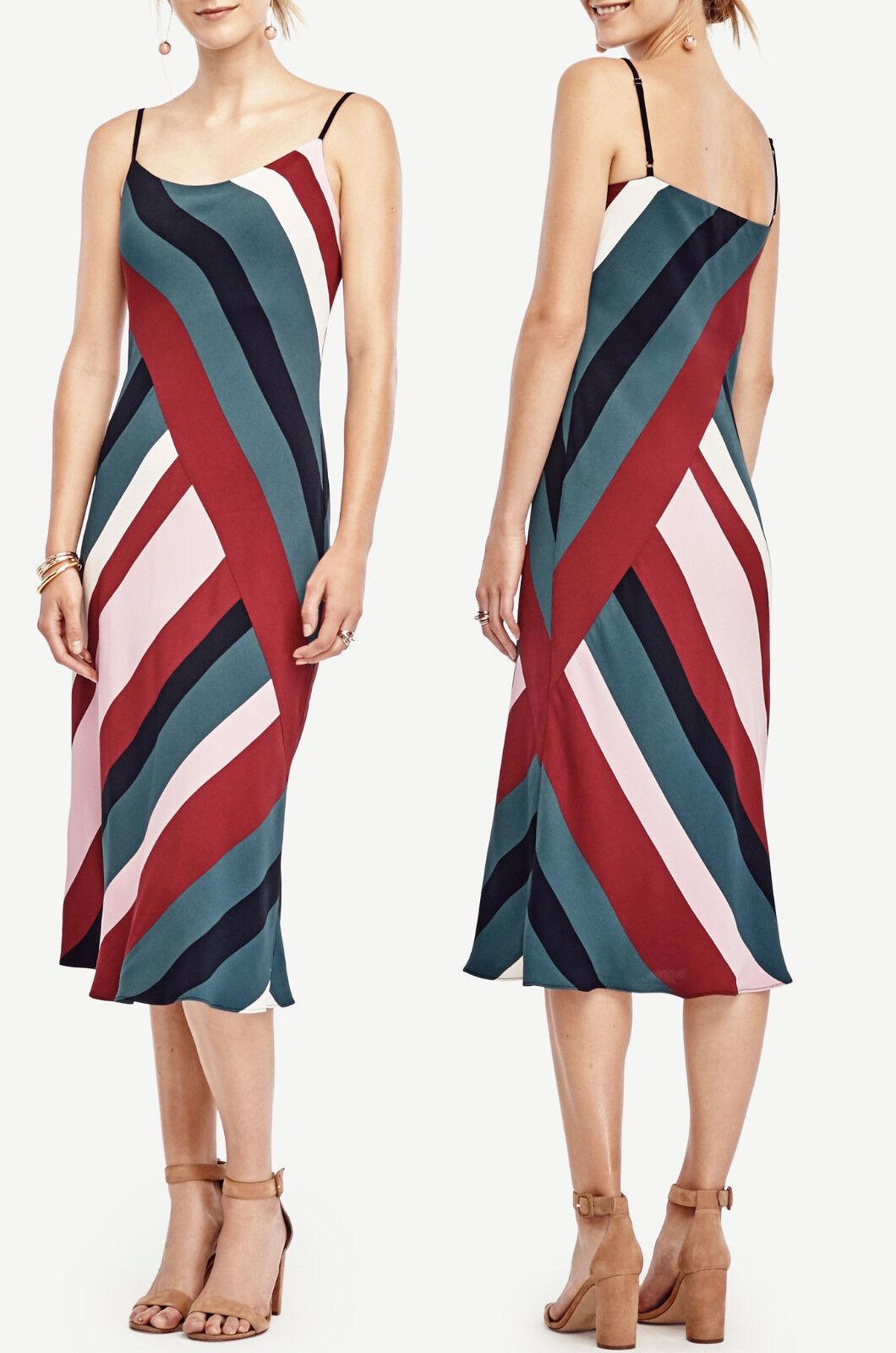 NWT  Ann Taylor Farbeblock Striped Slip Midi Dress Größe 4