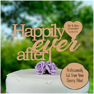 Happily-ever-after-PERSONALISED-Wooden-Wedding-Cake-Topper-Mr-Mrs-Keepsake