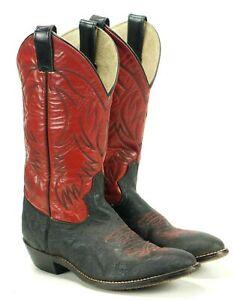 Record Dizziness Insulator  JUSTIN KID'S Rosso E Nero Stivali Cowboy Western In Finta Elefante Stampa  della gioventù 3.5 | eBay