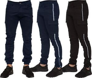 Enzo Jeans Mens Combat Trousers Cargo Chinos Slim Stretch Cuffed ... c05ea32494