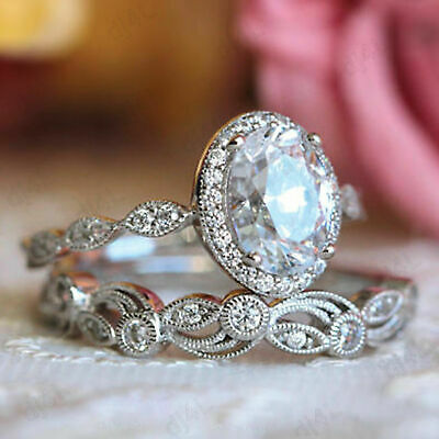 Solid 14K White Gold 2.00 Ct Oval Diamond Halo Vintage Style Engagement  Ring Set