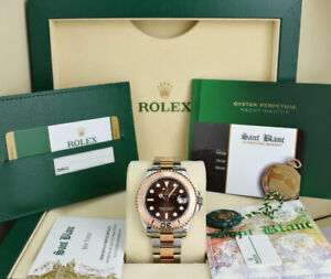ROLEX - MidSize Rose GOLD & SS YACHTMASTER 37mm Chocolate Dial 268621 SANT BLANC