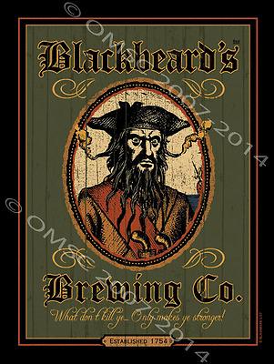 Black Beards Brewing Metal Sign, Beer, Fine Ale, Rustic Bar, Den Decor
