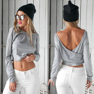 NEW Women Casual Long Sleeve Backless Sexy Blouse T-shirt Ladies Crop Blouse Top
