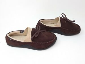 83becec770d New! Men s Isotoner Moccisan Style House Slippers Dark Brown 30Y