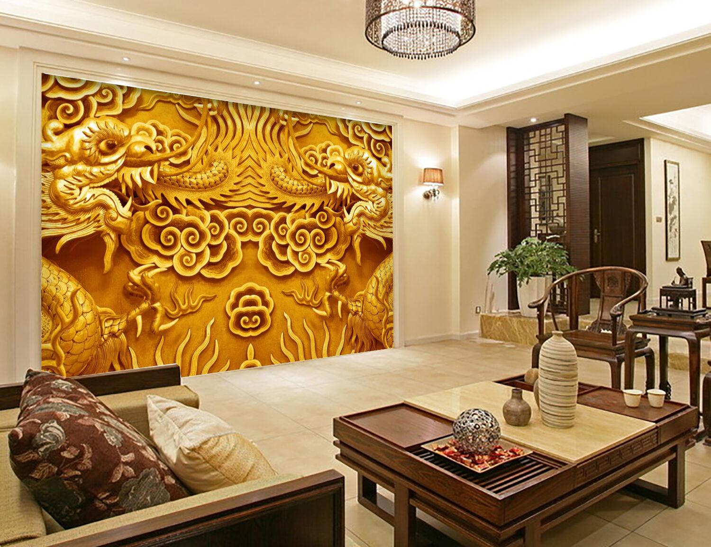 3D Carved Dragon 824 Wallpaper Mural Paper Wall Print Wallpaper Murals UK