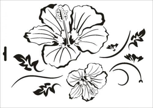 Wandschablone Maler T-shirt Schablone W-084 Floral ~ UMR Design