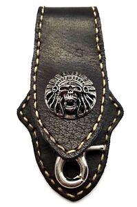 Biker-Skull-Trucker-White-Stitch-Black-Leather-Belt-Clip-Keychain-Key-Holder