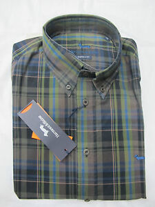 HARMONT-amp-BLAINE-camisa-de-hombre-mod-CX007-quadro-col-marron-VERDERoN-t-XL