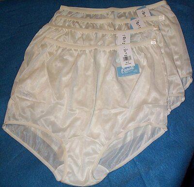 4 Pair Size 4 Ivory Beige Nylon Panty Brief Style Panties