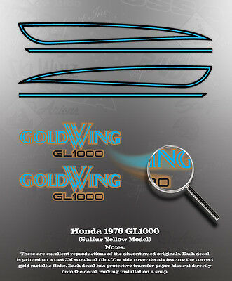 HONDA 1975 GL1000 FAUX TANK DECAL GRAPHIC SET LIKE NOS