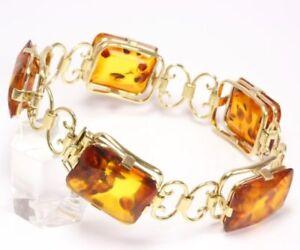8kt-333-Damen-Gold-Armband-Goldarmband-Bernstein-Bernsteine-Bernsteinarmband