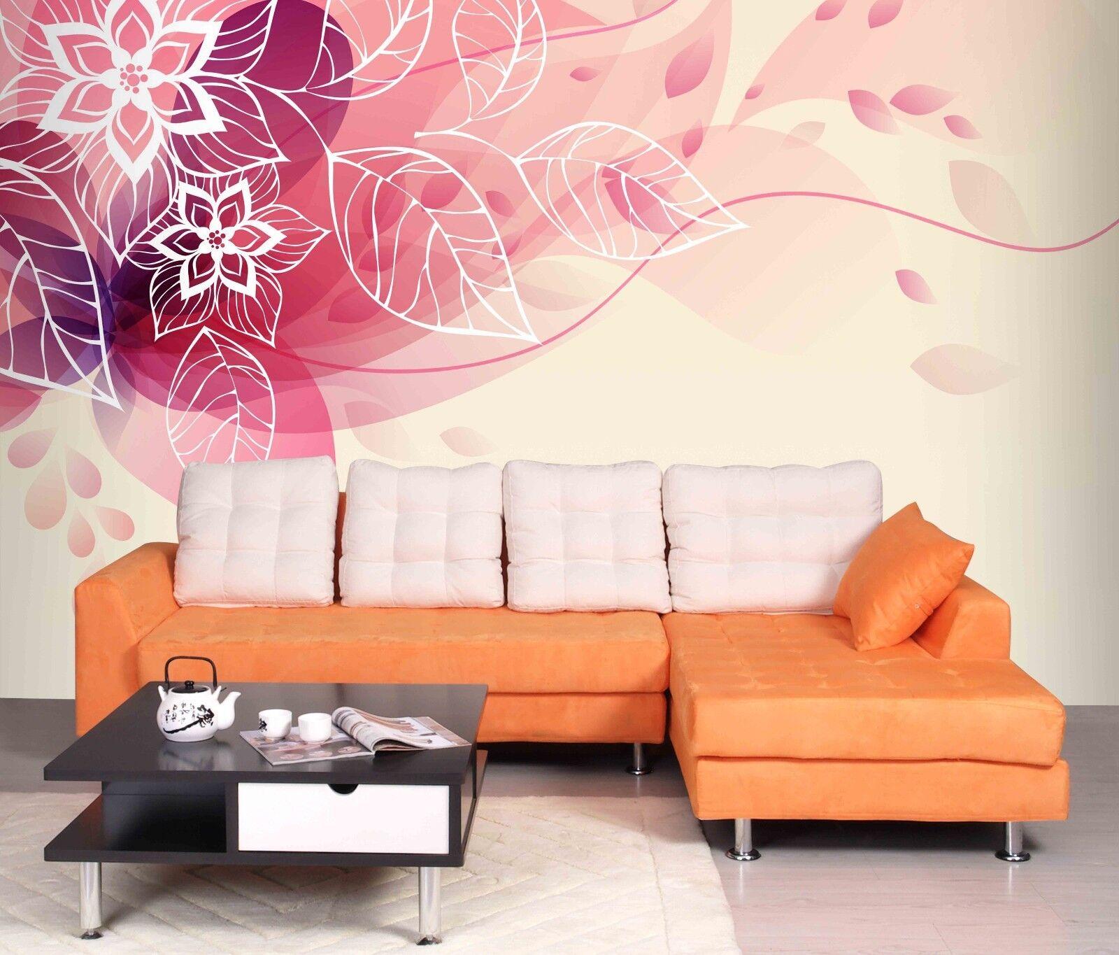 3D Blätter Muster Blumen 8980 Tapete Wandgemälde Tapeten Bild Familie DE Jenny