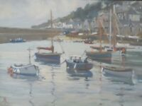 "ORIGINAL MICHAEL RICHARDSON OIL ""High Tide, Mousehole"" Cornwall Boats PAINTING"