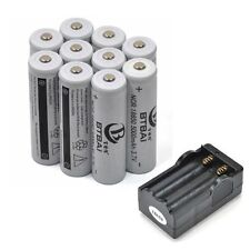 10 Piles Accus 5000mAh 18650 3.7V Li-ion Rechargeable Batterie + Chargeur • HOT