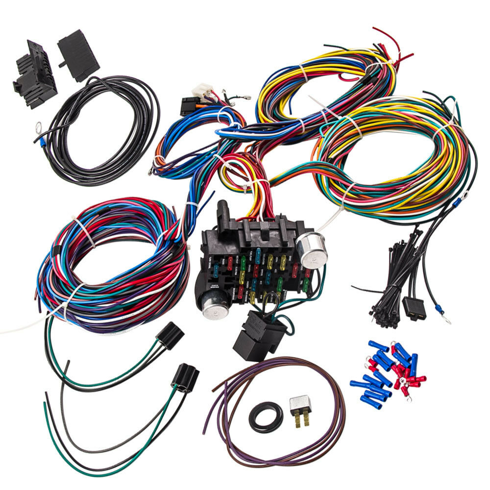 Wiring Harness 21 Circuit Street Hot rod Universal Wire Kit for FORD on universal heater core, universal equipment harness, universal battery, universal steering column, universal fuse box, universal miller by sperian harness, universal radio harness, universal air filter, universal fuel rail, construction harness, lightweight safety harness, stihl universal harness, universal ignition module,