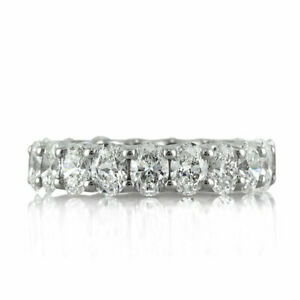 3.80 Ct Oval Moissanite Engagement Eternity Band Real 18K White Gold Ring Size 7