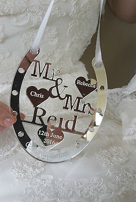 BRIDE /& GROOM WEDDING DAY GIFT PERSONALIZED GOOD LUCK HORSE SHOE  MR /& MRS DAVIE