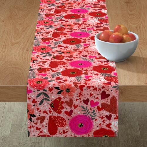 Table Runner Valentine Floral Hearts Illustration Flowers Roses Cotton Sateen