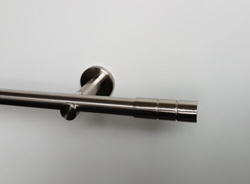 Gardinenstange Stilgarnitur Metall 20 mm Edelstahl Optik Zylinder 100 bis 400 cm