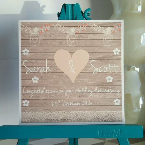 PERSONALISED Handmade Vintage Shabby Chic Style Anniversary Card