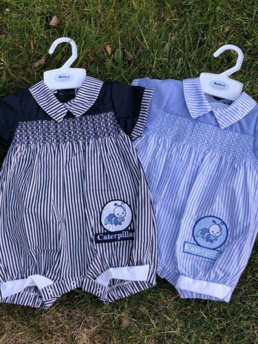 Baby Boys Spanish Style Romper All in One 0-3 3-6 6-9 Mth Embroidered Blue Navy