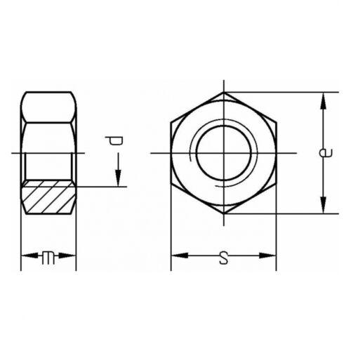200x DIN 934 Sechskantmuttern M 7 Stahl Klasse 8 galvanisch verzinkt farblos