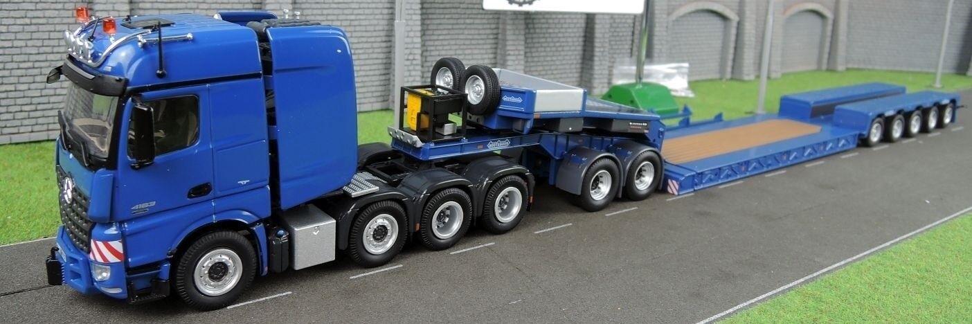 NZG 1 50 MERCEDES ACTROS SLT + REMORQUE PORTE-ENGIN NOOTEBOM 5 essieux PENDEL X