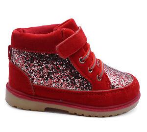 Filles-Enfants-Mignon-Paillettes-Rouge-Bottines-Chaussures-a-Lacets-Chaud-Hiver-Chaussons-Tailles-8