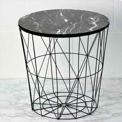 Black Marble Effect Top Wire Storage Basket Round End Side Table Home Furniture