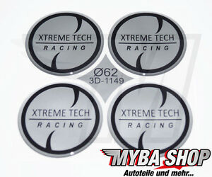4x-Silicone-Sticker-62mm-for-HUB-CAPS-EMBLEMS-SILVER-Extreme-Tech