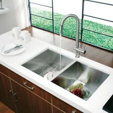 "33"" Zero Radius Double Bowl Under mount Stainless Steel Kitchen Sink"