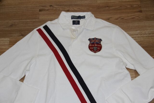 Ralph Lauren Team Olympic Great britain Flag Cotton Rugby Shirt  M Custom Fit