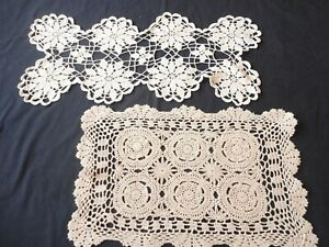 2 Vintage 1950's Hand Crochet Doilies Ecru Oblong