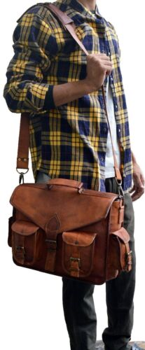 Jahrgang Leder Aktentasche Arbeitstasche Schultertasche UNI BAG Messenger Neu