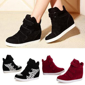 Fashion Women Hidden Wedge Heels Shoes increased High Top Sneakers ...