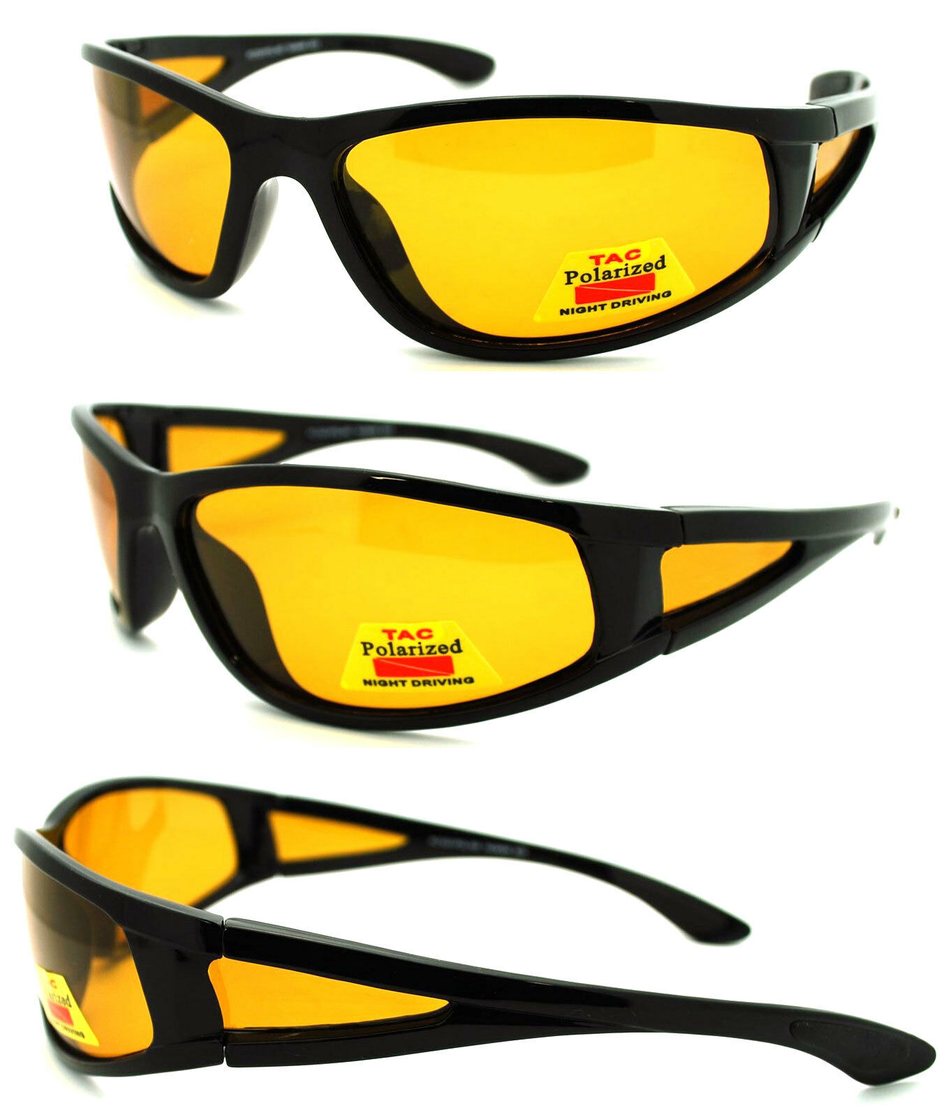Night Driving HD Vision Polarized Sunglasses Black Frame Yellow Lens 100/% UV 400