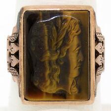 Antique Victorian Etched 14K Rose Gold Bezel Set Carved Tiger's Eye Mens Ring