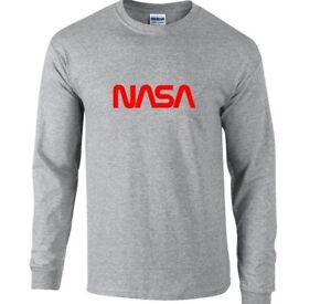 3f299aca NASA Vintage Space Agency Sport Gray T-Shirt Red Logo Long Sleeve ...