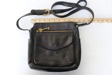 VTG FOSSIL 1954 Large Crossbody Shoulder Bag Black All Leather Purse 75082