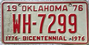 GENUINE-1976-Oklahoma-Bicentennial-License-Licence-Number-Plate-Tag-WH-7299