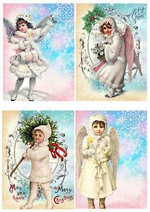 Cartoline Di Natale Vittoriane.Dettagli Su Cartolina Di Natale Decorazioni Per Rosa Blu Angeli Natale Vittoriano Bricolage Mostra Il Titolo Originale