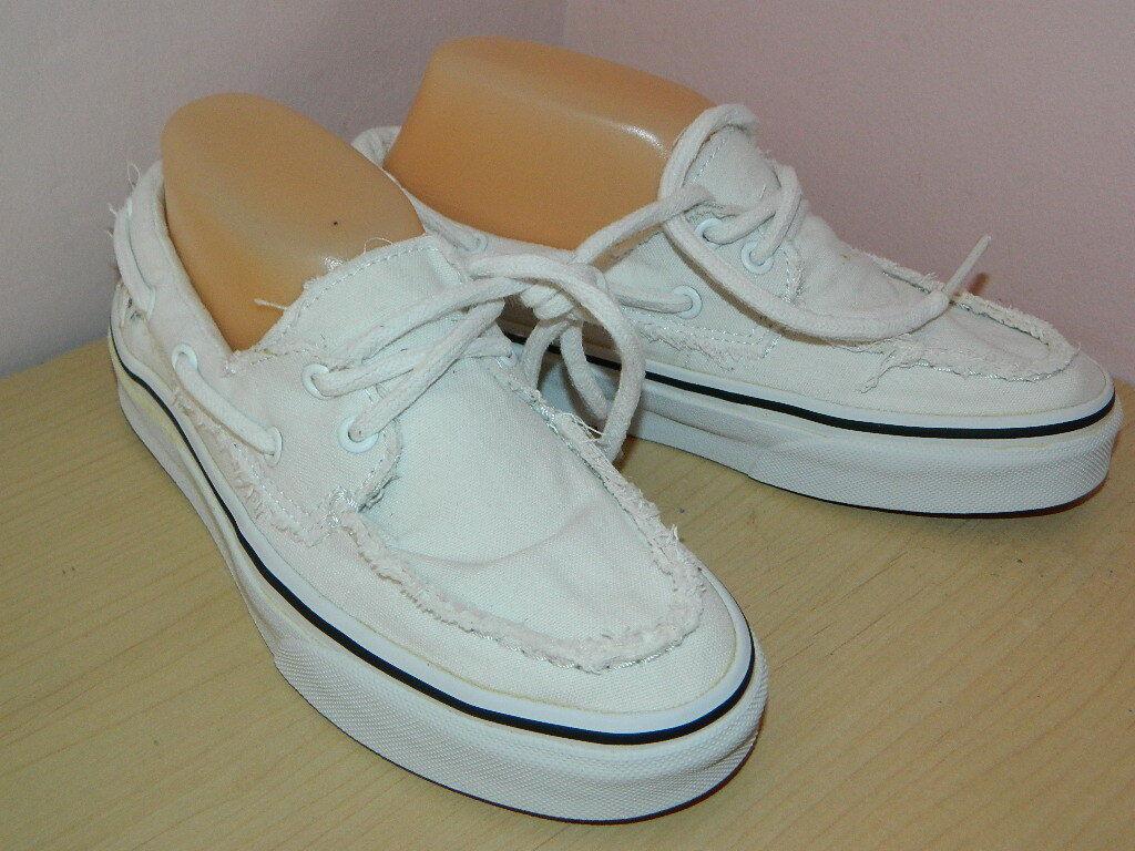 Blanc Vans Lacets Tennis Baskets Mocassins Bateau Style Chaussures UK 4 EUR 36.5