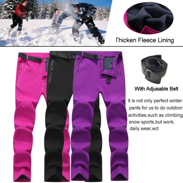 Women's Winter Waterproof Snow Pants Fleece Lining Outdoor Work Hiking Trousers