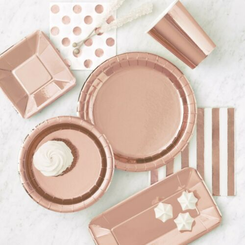 ROSE GOLD FOIL APPETISER SQUARE PLATES-8 53277 Baby Shower Party Tableware