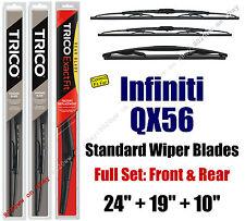 Wiper Blades 3pk Front Rear Standard fit 2011-2013 Infiniti QX56 - 30240/190/10B