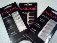 Nail Polish Foils Lot 3 Set Strips Decal Design Chrome Silver White Arrows Black